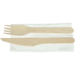 Träbestickset Kniv och gaffel med servett i praktisk förpackning