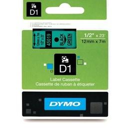 Märkband Dymo D1 12mmx7m Svart/Grön