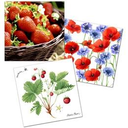 Servett 33cm 3-Lags  Svensk sommar st/fp Wild Strawberry/Summerfield/Strawberries