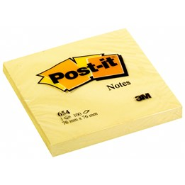 Post-It 654 76x76mm Gul 12st/fp