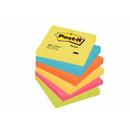 Post-It 76x76mm Hot Pink Rainbow 6st/fp