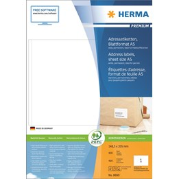 Etikett A4 148x205mm Vit 400ark/fp Herma