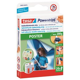 Dubbelhäftande Powerstrips tesa 58003 Poster  200gr/Strips 20st/fp