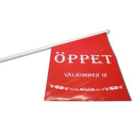 Flagga Text 40x63cm Röd/Vit