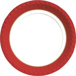 Papperstallrik 18cm Röd/Guld 50st/fp