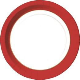 Papperstallrik 22cm Röd/Guld 50st/fp