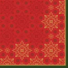 Servett 40cm 3-Lags Xmas Deco Röd 250st/fp