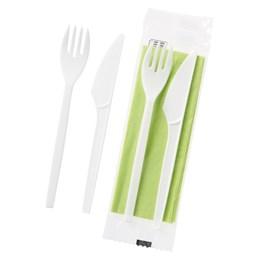 Bestickpaket Gaffel/Kniv Servett Grön