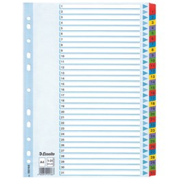 Pappersregister A4 1-31 Mylarplast