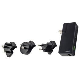 Väggladdare Leitz USB+Power Bank 3000mAh Svart