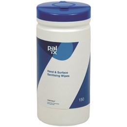 Våtservett 19,5x20cm Vit 2L Blå Cylinder 150ark/fp Pal Tx handdesinfektion