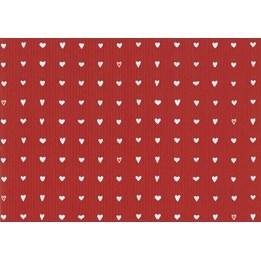 Julpapper 38cm Hjärtan Röd Ribbad