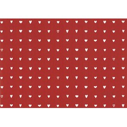 Presentpapper 57cm Hjärtan Röd Ribbad