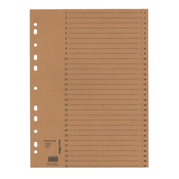 Pappersregister A4 1-31 Kraftpapper