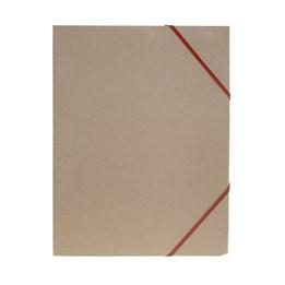 Gummibandsmapp A4 Kartong 3-Klaff Natur Röd