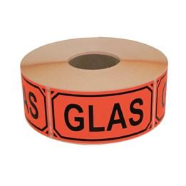 Varningsetikett Glas Röd 1000st/rl