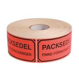 Varningsetikett Packsedel Finns i Förpackningen Röd 1000st/rl