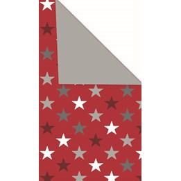 Julpapper 38cm Stars Red, Dubbelsidig