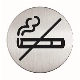 Skylt Rökförbud 83mm Borstat stål Självhäftande