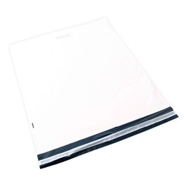 E-Handelspåse 600x610+70+60x0,06mm COEX Vit/svart Med Handtag 100st/fp