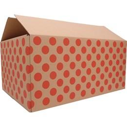 Wellåda slitslåda 1-lager Tryck Röda Prickar
