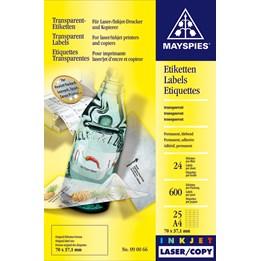 Etikett A4 70x37mm Transparent