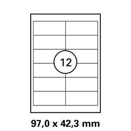 Etikett A4 97x42,3mm Vit