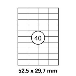 Etikett A4 52,5x29,7mm Vit  100ark/fp