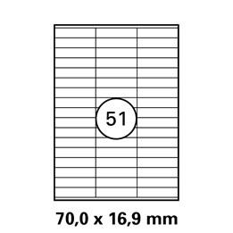Etikett A4 70x16,9mm Vit  100ark/fp