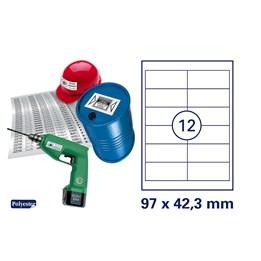 Etikett A4 97x42,3mm Vit Polyester