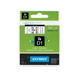 Märkband Dymo D1 12mmx7m Svart/Vit