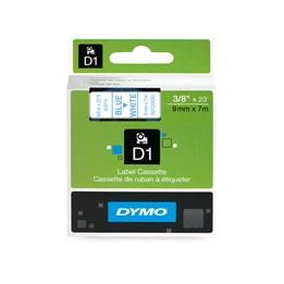 Märkband Dymo D1 9mmx7m Blå/Vit