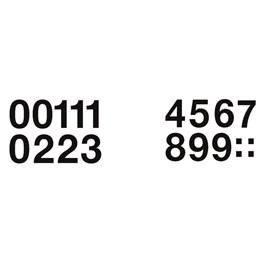 Etikett Siffror 0-9 Vit/Svart Höjd 33mm