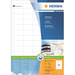 Etikett A4 38,1x21,2 Vit 6500st/fp Herma 100ark/fp