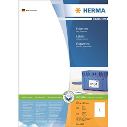 Etikett A4 210x297mm Vit 100ark/fp Herma