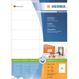 Etikett A4 105x37mm Vit 100ark/fp Herma