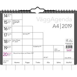 Almanacka Väggagenda 6-Fält 1v/Uppslag